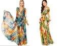 Largo cinturón dress nuevo 2016 gasa de la impresión floral de bohemia beach party maxi vestidos v cuello flojo de la manera de la manga completa vestido de tirantes