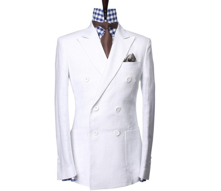 White Linen Suit Custom Made Double Breasted Off White Linen ...