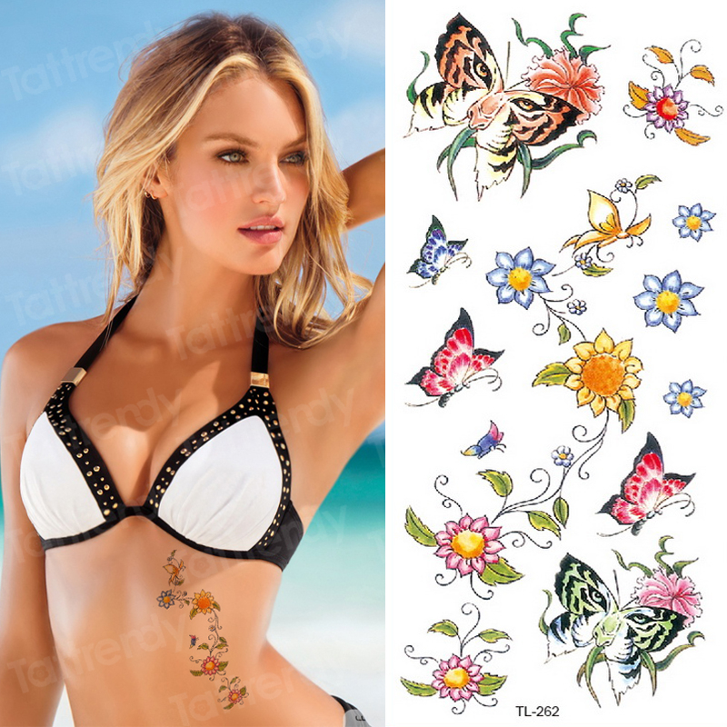Tattoo Sticker Woman Flower Butterfly Body Tattoo Small Water Transfer Temporary Tattoos Waterproof Summer Fake Tatoo For Girls