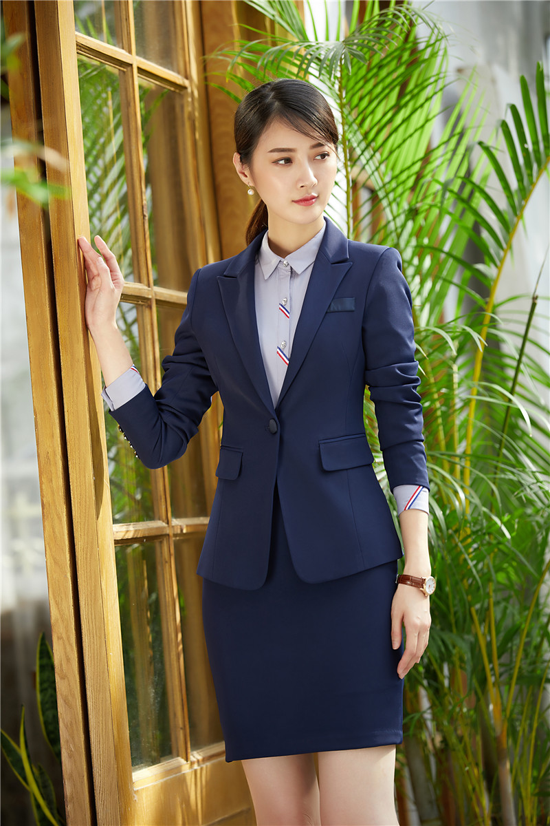 Back To Search Resultswomen's Clothing Pant Suits Ladies Navy Blue Blazer Women Business Suits Formal Office Suits Work Wear Uniforms Pant And Jacket Sets Ol Styles