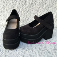 Princess sweet gothic lolita shoes Loliloliyoyo antaina Japanese design custom black suede buckle strap thick heel shoes 4174s