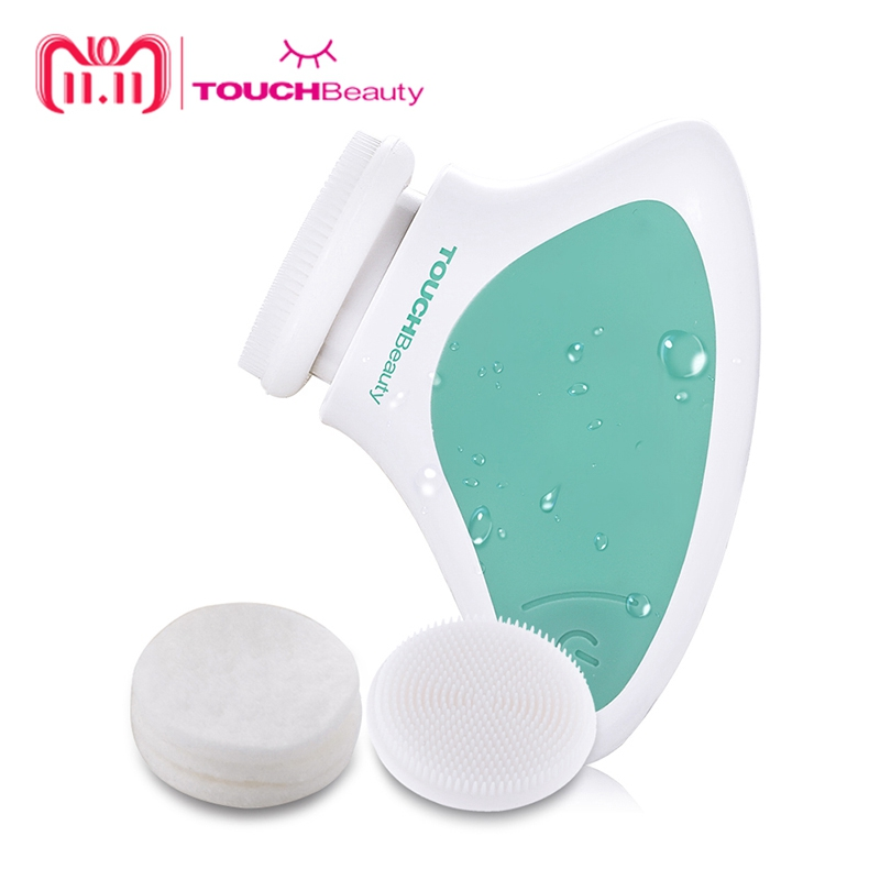 TOUCHBeauty Silicone face cleansing brush, Mini Sonic vibration Cleansing System Waterproof facial cleansing brush TB-1288 touchbeauty smart rechargeable dual head optical facial cleansing brush with inbuilt sensor and timer tb 1582