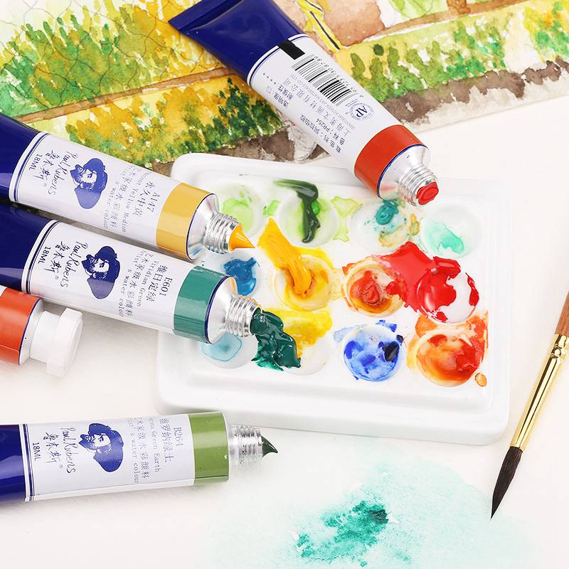Paul Rubens 18ml Artist Watercolor Paints Tube Professional Water Color Paint For Fabric Drawing Artist Pigment Art Supplies