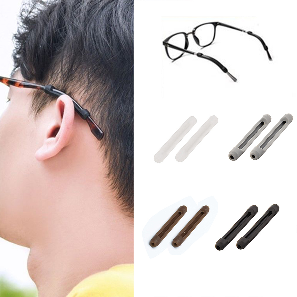 10Pcs Anti-slip Glasses Slip Sleeve Soft Silicone Eyeglass Strap Retainer Holder Sunglasses Ear Hook Legs Slip White Black Eye