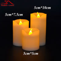 Set of 3 flameless out door candle led outdoor candles plastic led candles for holiday decorative