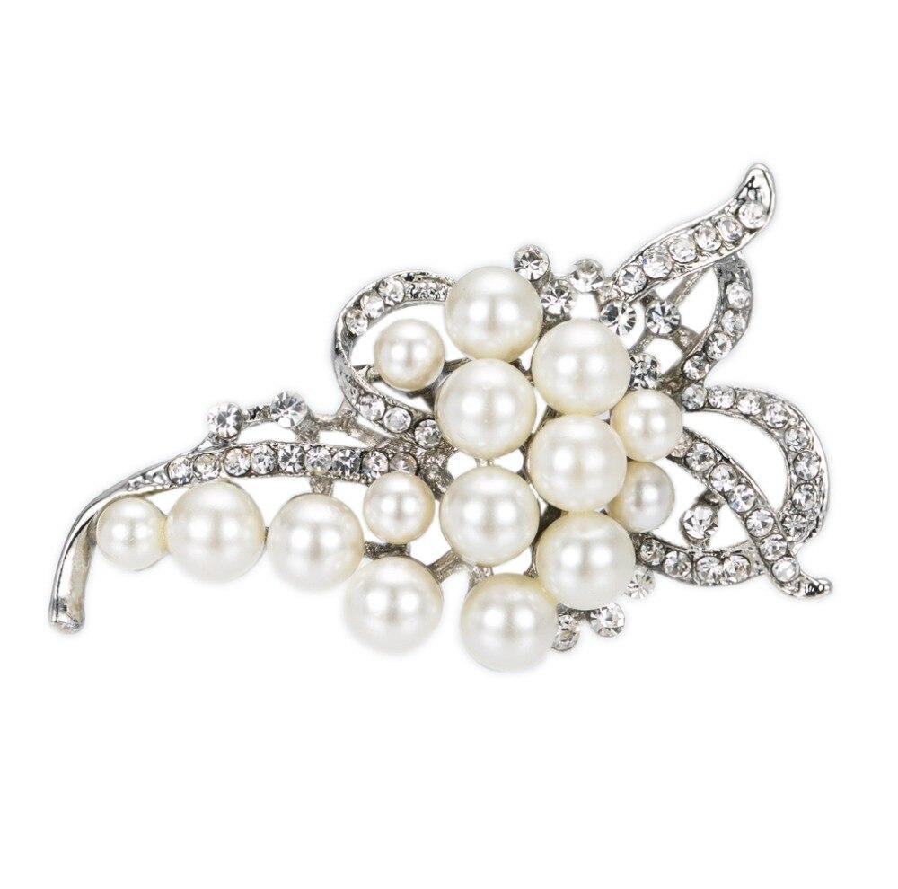 Украшенные стразами и имитация крем жемчужные свадебные лук брошь как  серебро и золото доступны 87f23472ffb