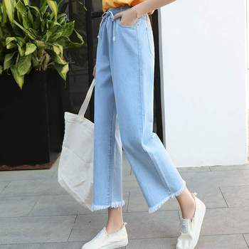 Women High Waist Flare Jeans For Women Wide Leg Pants Denim Vintage Pants Ankle Length 2019 Stretch Women Jeans summer national style embroidered vintage denim wide leg pants elastic waist woman casual loose pocket jeans ankle length pants