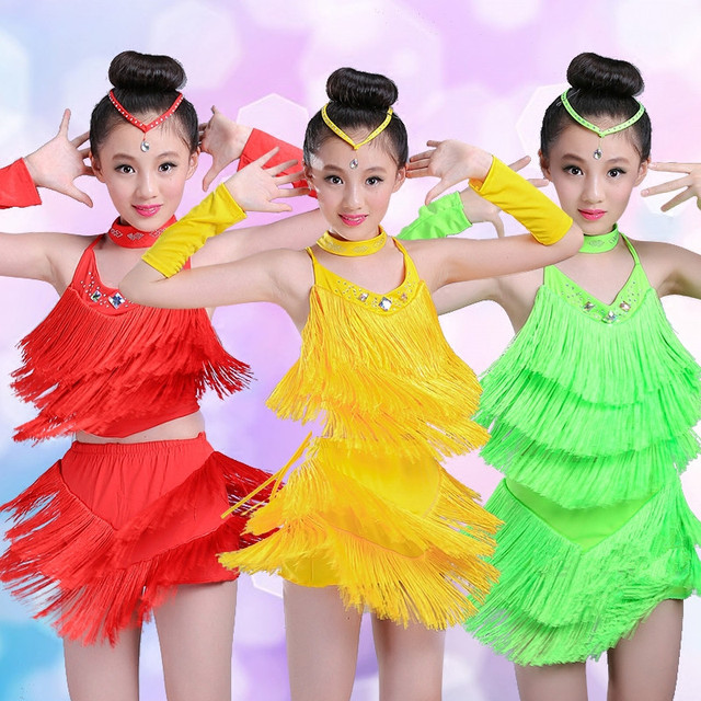 24d051e688076 Haute qualité Latin Samba danse frange enfant fantaisie Salsa Latin danse  Costume enfants danse robe Latino