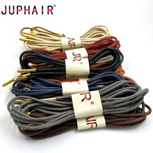 JUPHAIR 60-180cm Round Waxed Shoelaces Golden Metal Head Cotton Shoelace Dress Leather Shoes Strings Boot Sport Shoe Laces Cord 1 pair casual cotton shoelaces 60 180cm high quality dress waxed round shoe laces shoestring martin boots sport shoes cord ropes