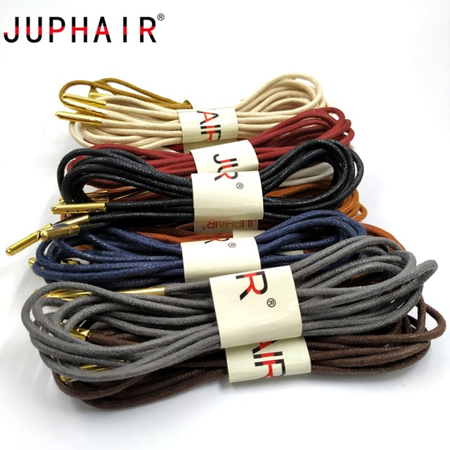 4c9b8958279e7 US $3.95 50% OFF JUPHAIR 60 180cm Round Waxed Shoelaces Golden Metal Head  Cotton Shoelace Dress Leather Shoes Strings Boot Sport Shoe Laces Cord-in  ...