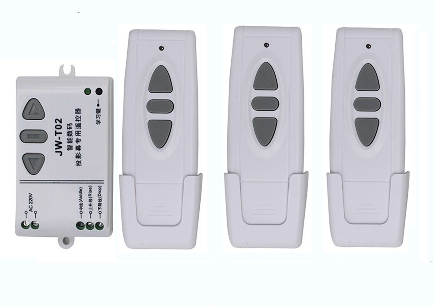 Ac 220 v intelligent digital RF wireless remote control switch system for projection screen 1 receiver + 3 transmitter ac 220 v intelligent digital rf wireless