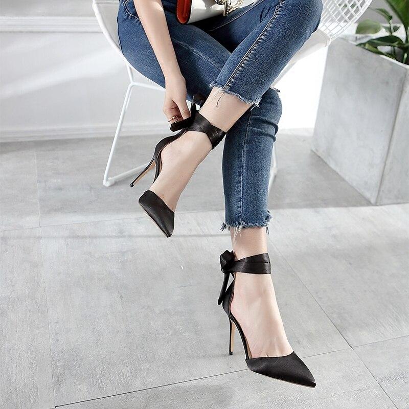 Grand 8cm 10cm 8cm Célibataires De Baotou Heel Rose Chaussures Creux Heel À Sandales Code Bracelet Mariage Satin Heel Avec Nu Beaux Talons Été Pointu Hauts Croix Y9IWHE2beD