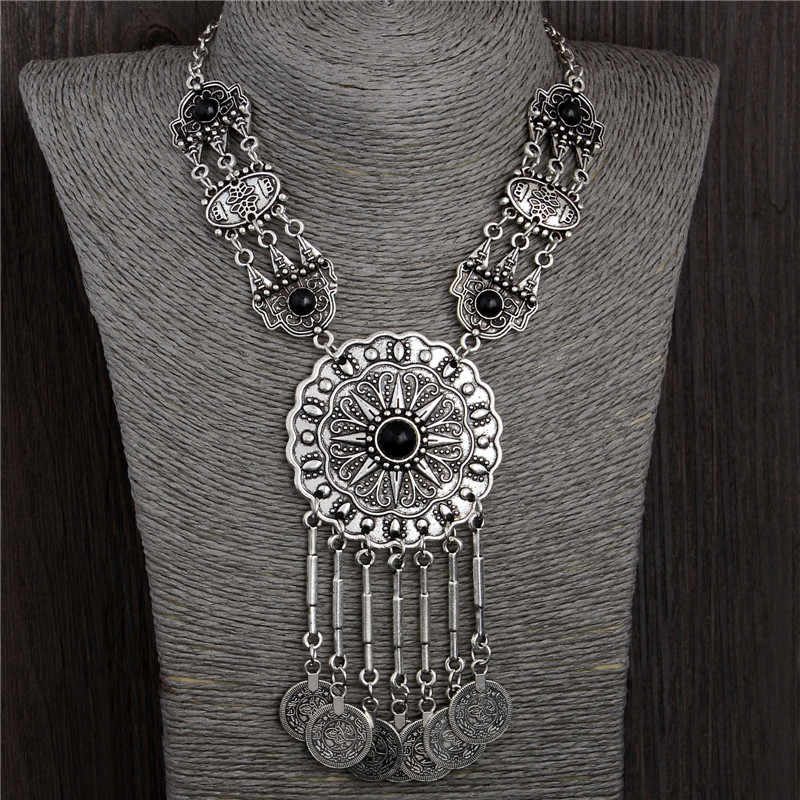 SHUANGR 2017 Ethnic Thai Silver-color Coins Bohemian Tassel Pendant Colar Statement Necklaces jewelry for women Collier Femme