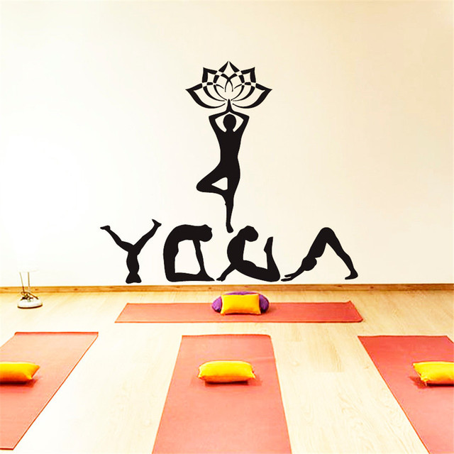 Yoga Meditation Sport Namaste Decal Vinyl Sticker Home Decor Yoga ...