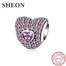 SHEON Trendy 925 Sterling Silver Romantic Heart Luminous CZ Charm Beads fit Pandora Bracelet & Necklaces DIY Jewelry