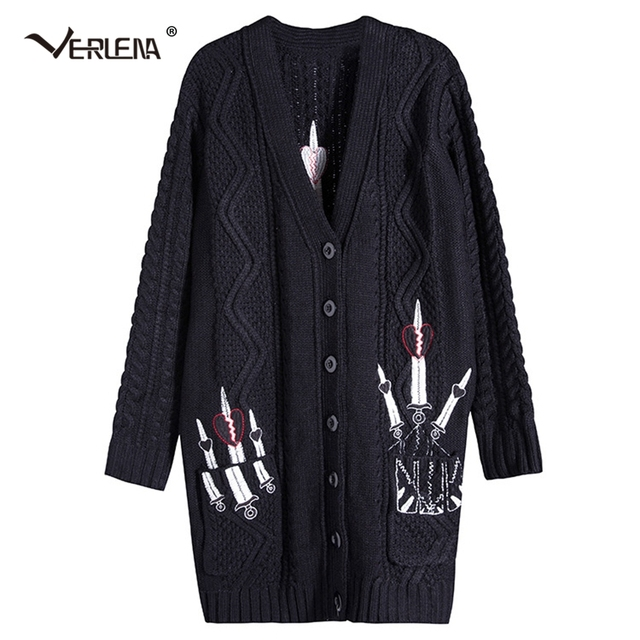 b493fb0b82 Verlena 2019 Chunky Cable Long Cardigan Female Oversized Black Sweater  Pocket Women Sword Embroidery Thick Vintage Sweaters Coat