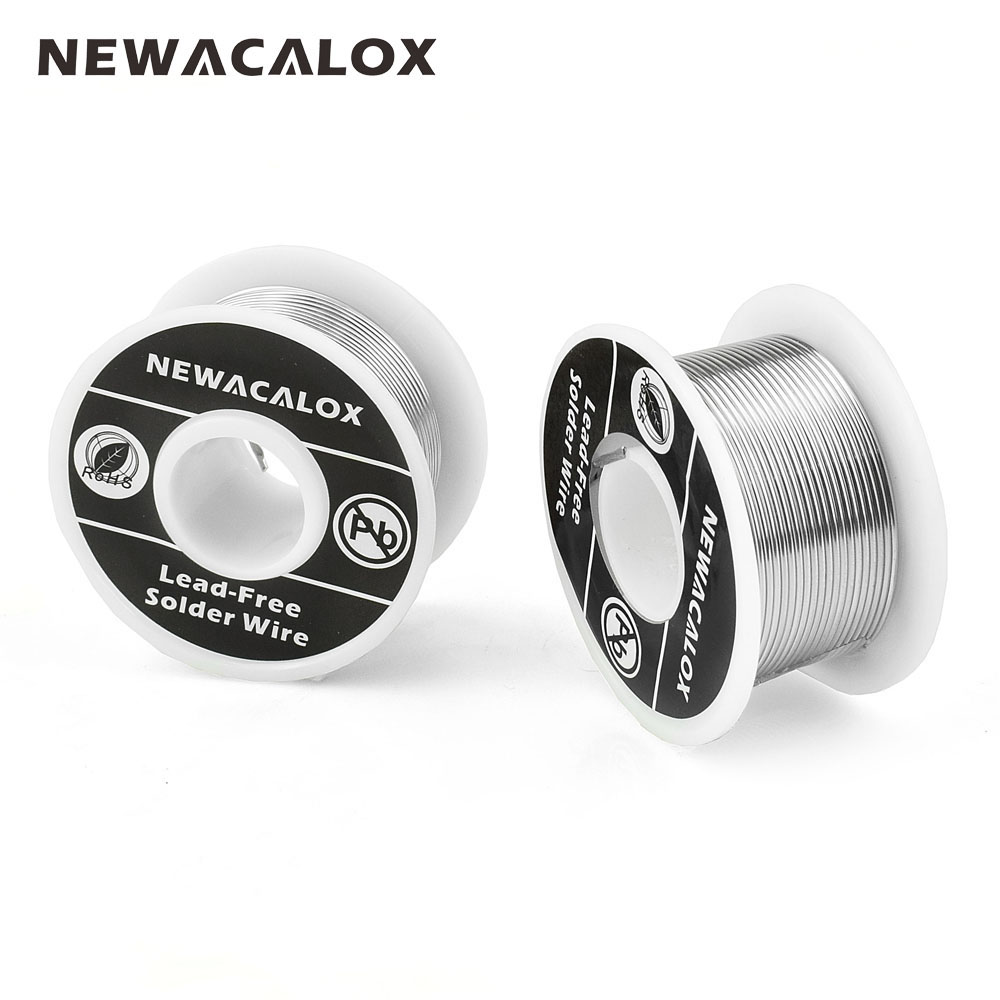 NEWACALOX 2PCS/Set 1mm New Welding Iron Wire Reel 100g/3.5oz Tin Lead Line FLUX 2.0% Silver Solder Wire 55*29mm for Soldering