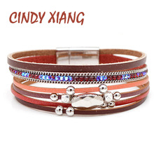 CINDY XIANG 3 Colors Available Rhinestone Leather Bracelets For Women And Men Unisex Fashion Cuff Bangles Multi-layer