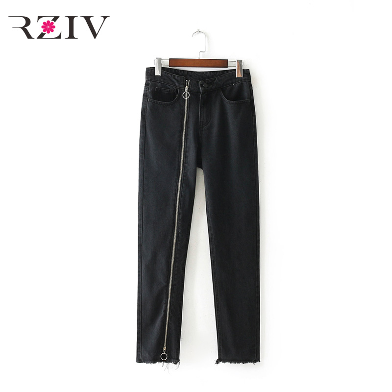 RZIV 2017 summer female jeans casual solid color zipper decoration jeans