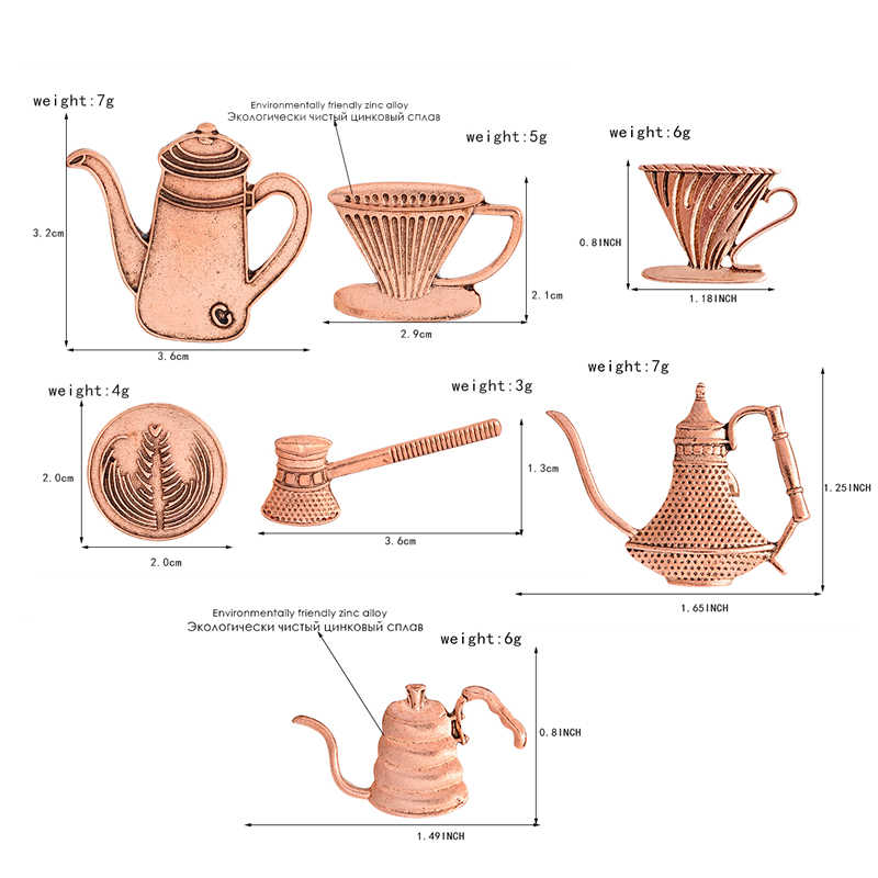 QIHE เครื่องประดับ Rustic ทองแดงกาแฟตุรกีและถ้วยกาแฟ pin เครื่องชงกาแฟ pins ป้ายเข็มกลัดผู้หญิงผู้ชายเครื่องประดับ unisex