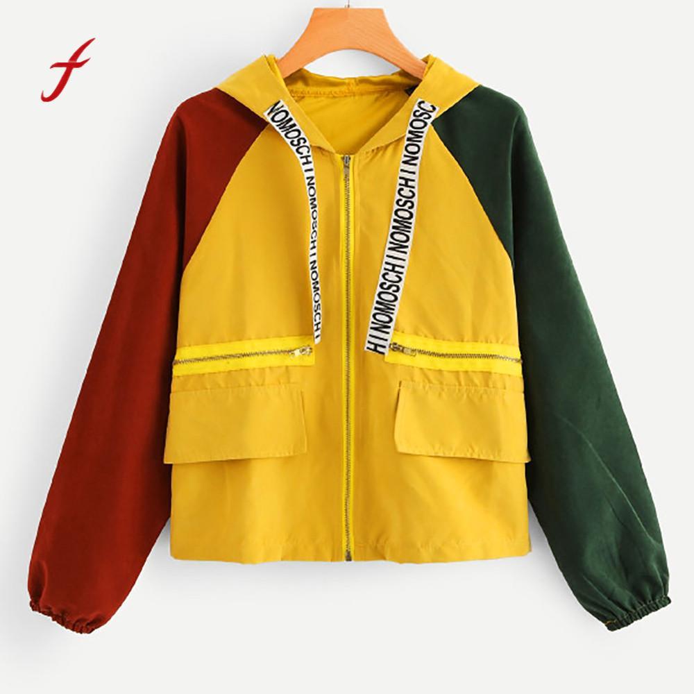 Jackets Women Long Sleeve Patchwork Pocket Skinsuits Hooded Zipper Pockets Sport Coat Ladies Casual Autumn Outwear Women Clothes Куртка