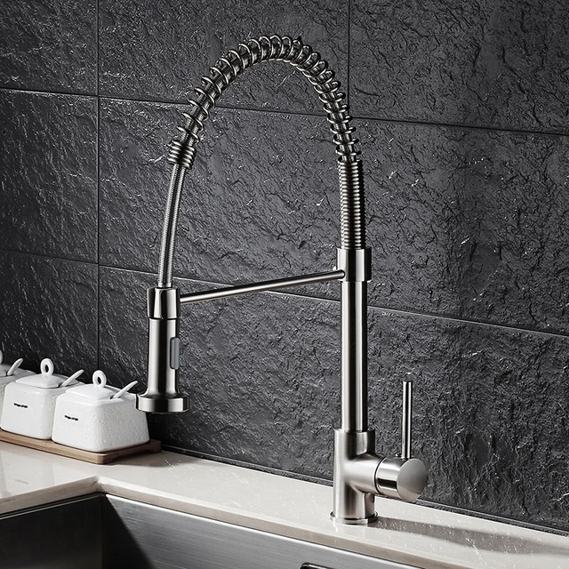 Tension Drawing Spring Kitchen Faucet American Pull Type Hot And Cold Double Sink