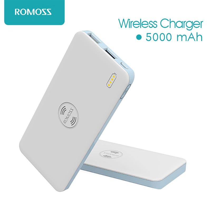 imágenes para Freemos Romoss 5 5000 mAh Dual USB Banco de la Energía de Carga Inalámbrica Para El Teléfono Inteligente Android powebank tecnología de carga inalámbrica QI