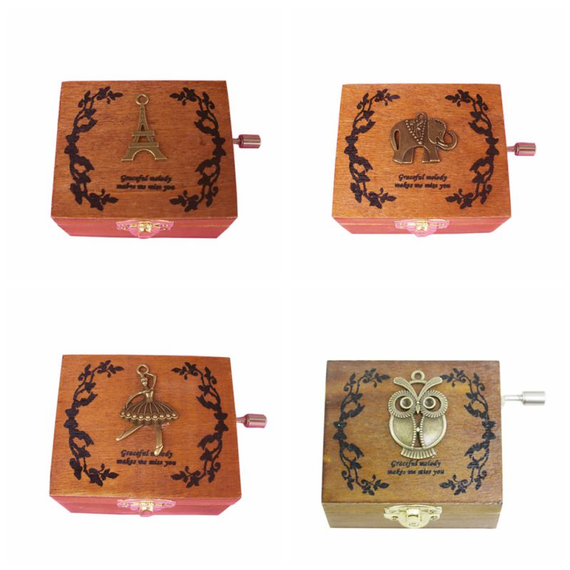 Classical Musice Boxes Exquisite Square Wooden Hand Crank Exquisite Retro Music Box Gifts Y13