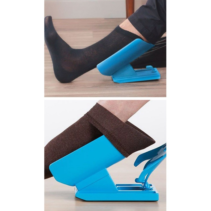Easy On 2018 Easy Off Sock Aid Kit Sock Helper Slider Fast & Easy Way To Put On Socks Pregnancy & Injuries Living Tool sock slider aid blue helper kit help
