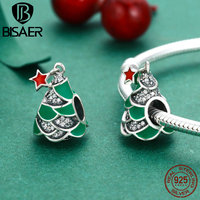 100 925 Sterling Silver Christmas Tree Green Clearly CZ Beads Fit Charms Authentic Original Bracelets Jewelry