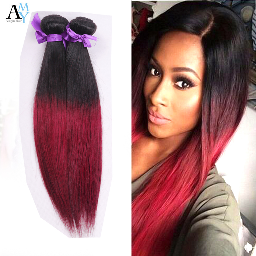 Cheap 3Pcs Lot Silky Straight Ombre Burgundy Virgin