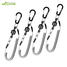 Booms Fishing MRC Magnetic Release Clip Net Holder with Fishing Tool Coiled Lanyard 1.5m Black