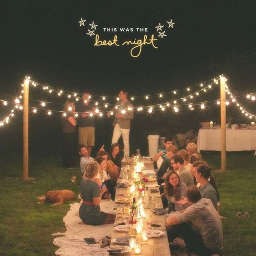VNL White Wedding String Light,Retro Garden Decorative Garland Light With 25 Clear Ball Bulbs for Outdoor Hanging Umbrella Patio