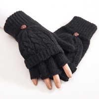 Women Half Finger Gloves Thermal Thicken Gift Mittens Autumn Winter Hand Warmer Artificial Wool Knitted Flip Soft 1 Pair