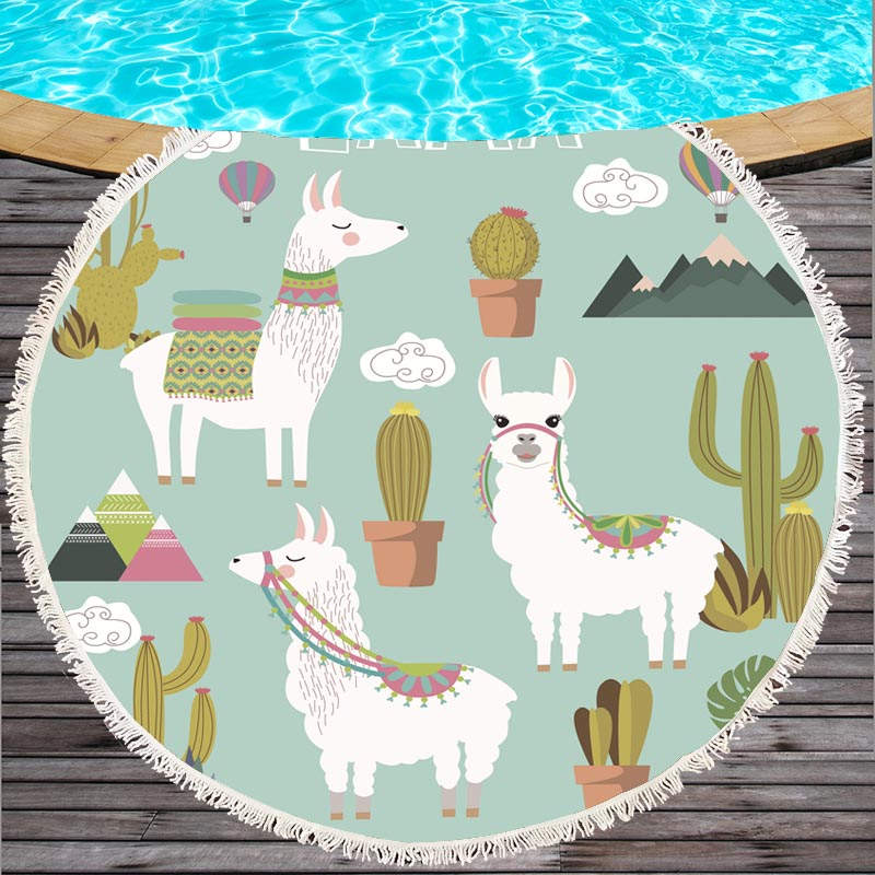 Hot Sale Cartoon Alpaca Animals Printed Beach Towel 150cm