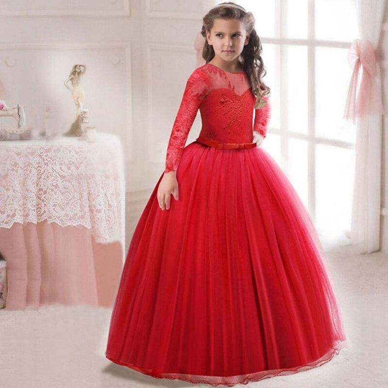 Кружевное платье с длинными рукавами для девочек, держащих букет невесты на свадьбе, на день рождения, банкет Элегантное Длинное белое кружевное платье с бабочкой для девочек - Цвет: red