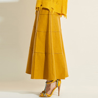 Sisjuly Women Skirt New Spring Autumn Winter Apricot Purple High Waist Ankle Length Modern Fashion Female