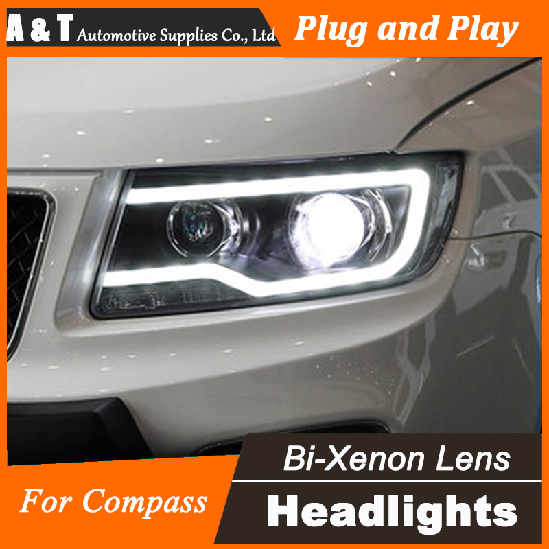 Car Styling for Jeep Compass LED Headlight assembly Projector Headlights DRL Lens Double Beam H7 HID Xenon H7 with hid kit 2 pcs hireno headlamp for volkswagen tiguan 2017 headlight headlight assembly led drl angel lens double beam hid xenon 2pcs