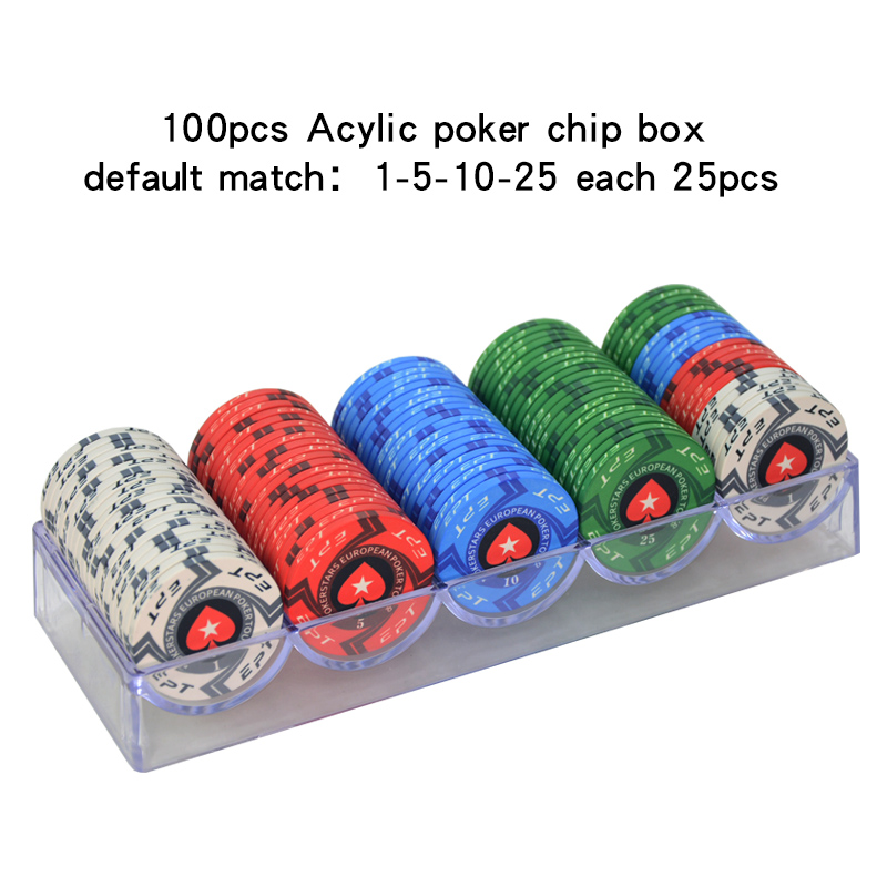 100-1000 pz/lotto Fiches da gioco Casino Texas Hold'em EPT di Ceramica Poker Chip Set Pokerstars Monete Con Box Acrilico/Vassoio