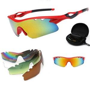 Image 1 - 편광 된 사이클링 태양 안경 야외 스포츠 자전거 안경 남자 여자 자전거 선글라스 고글 안경 5 렌즈