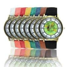 2017 Nueva Causal de La Moda Mapa aviones Jean Tela Cuarzo de la Venda Reloj de pulsera Hombres Mujeres ginebra Relojes para el regalo del Día de San Valentín reloj