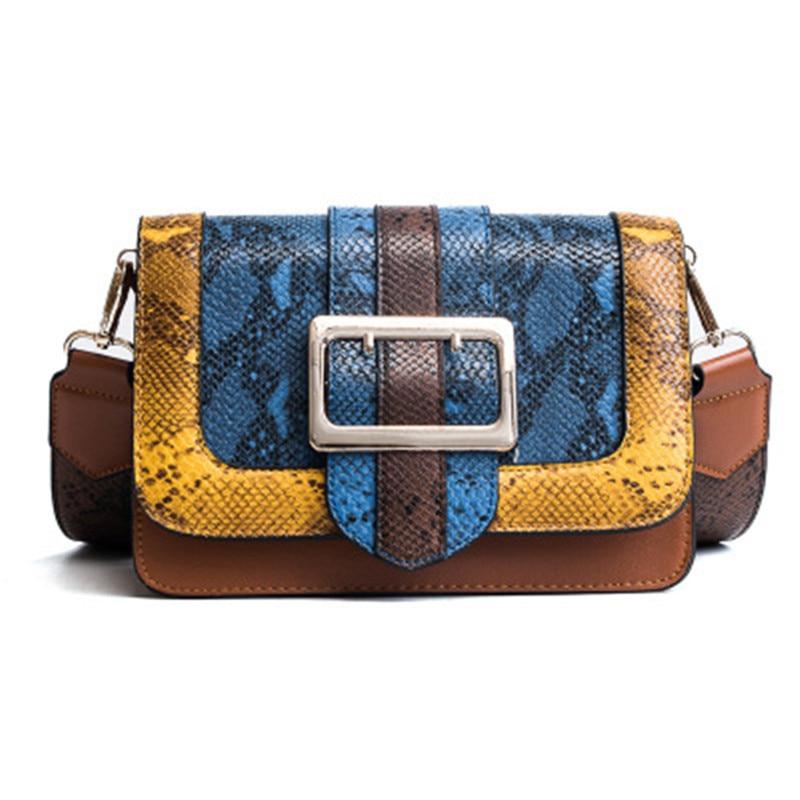 New classical 2017 fashion Luxury handbags Women Messenger Bag Chain Crossbody bags Snake PU leather brand designer bags ladies