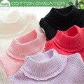 Новая Зимняя Детская Хлопок Твердые Sweatershirt Для Девочек Детей Плащ Вязание Свитер С Высоким Воротом Рубашки Для Детей Толстый Свитер
