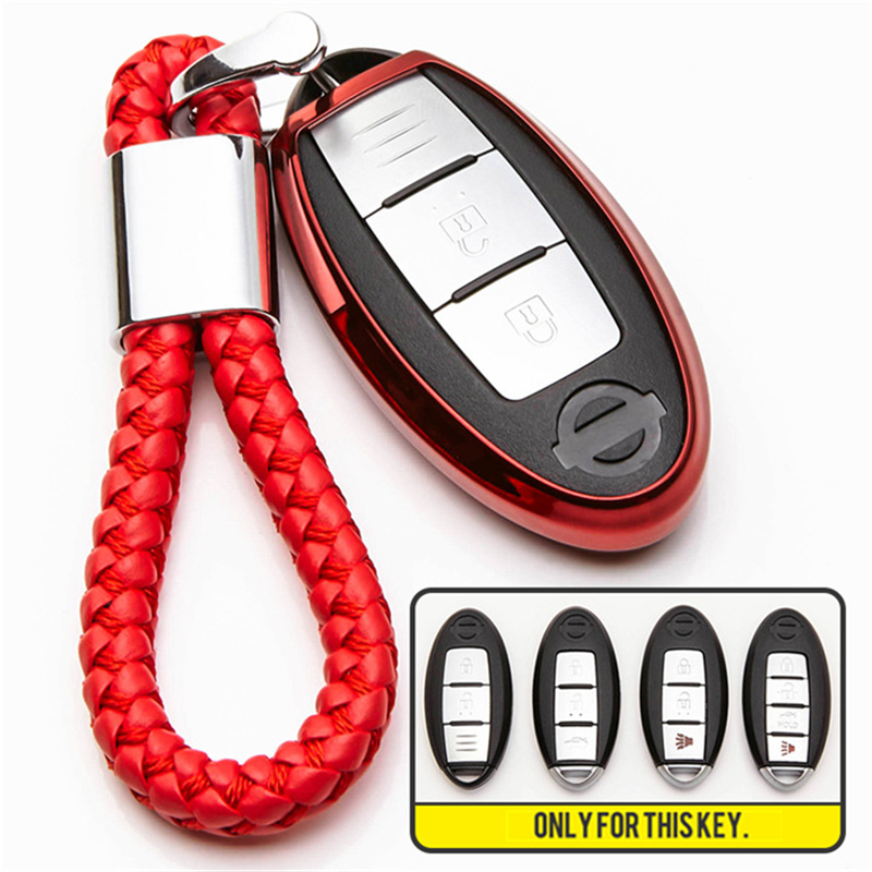 TPU Car Key Case Cover For Nissan Tidda Livida X Trail T31 T32 Qashqai March Juke For Infiniti FX35 QX60 Smart Car Keychain Ring in Key Case for Car from Automobiles Motorcycles