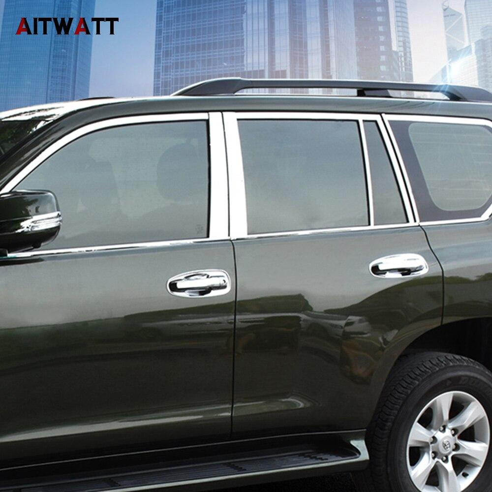 AITWATT Fit Pour Toyota Prado FJ150 FJ 150 2010-2016 Acier Inoxydable Fenêtre Pilier Car Styling Auto Accessoires Garnitures 10 Pcs