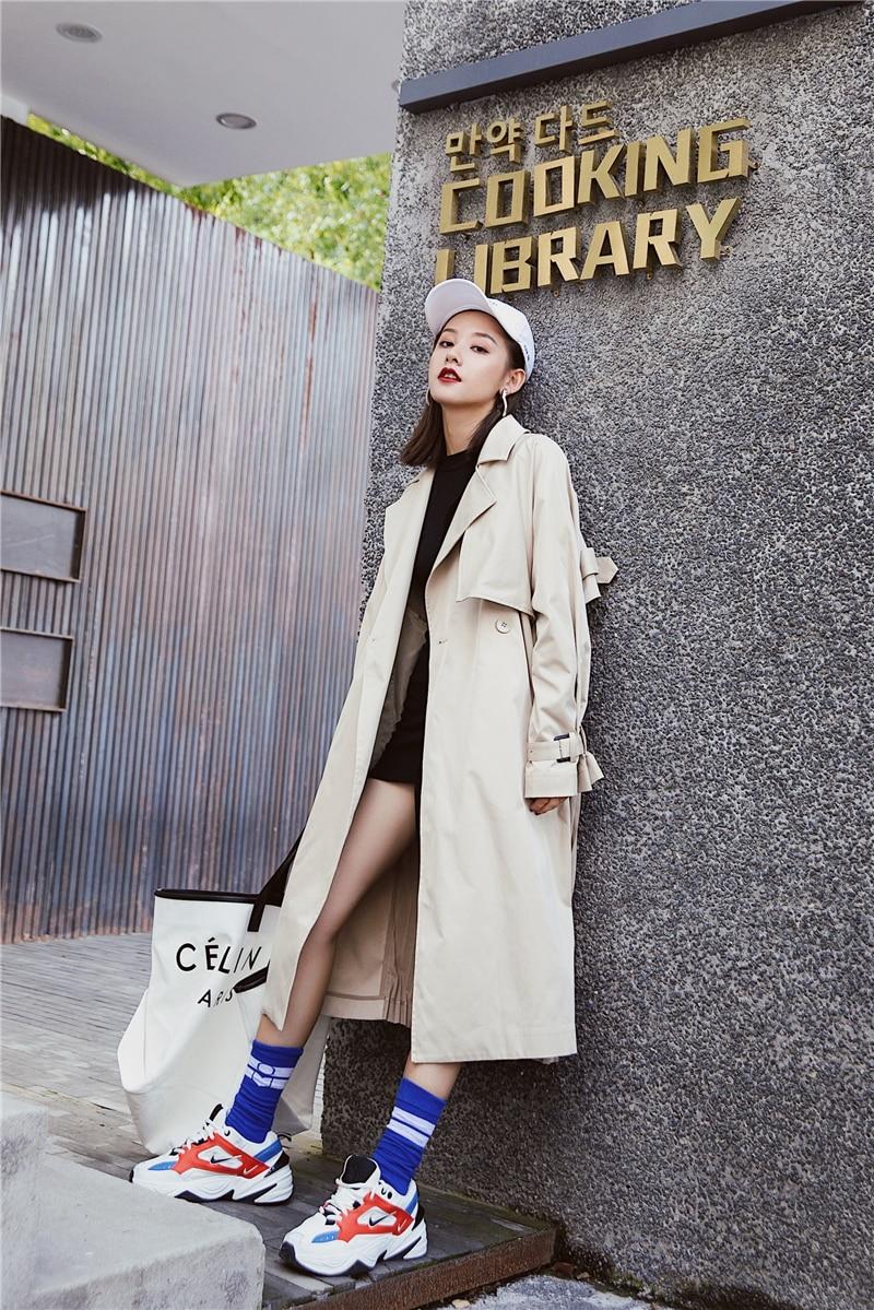 "British style Long Sleeves Autumn pleated coats women""s Long sleeve windbreaker overcoats abrigo mujer 11"