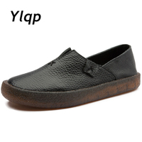 2018 New Fashion Loafers Black Red Women Handmade Shoes Woman Genuine Leather Soft Casual Flat Shoes for Women ballet Flats