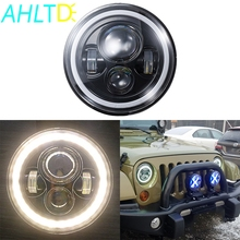 7 Inch Motorcycle LED Headlight 12V 45W with Angle Eyes Low High Beam Moto Working Spot Lights Headlamp 6500k Auxiliary