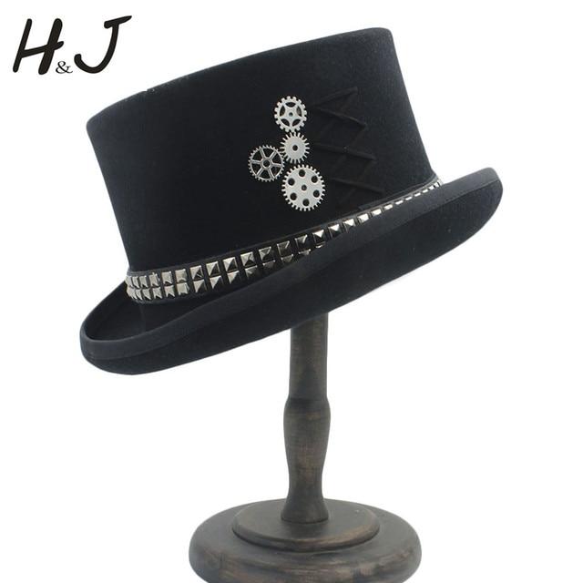 311613e0cefde 100% Wool Black Women Men Steampunk Top Hat With Handmade Steam Punk Gear  Fedora Cosplay