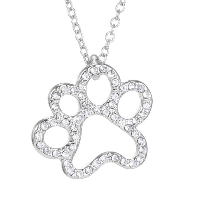 Silver Crystal Cute Cat Dog Puppy Paw Print Heart Necklace Women Statement Animal 1
